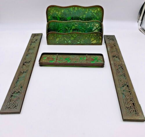 "Tiffany Studios Bronze & Glass Three Piece  ""Grapevine"" Desk Set"