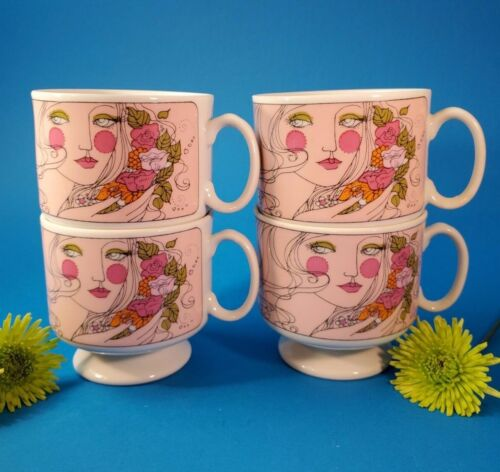 Vintage Stackable Coffee Cups Mod Retro Japan Floral w Women