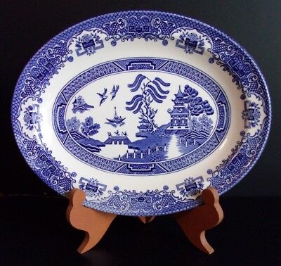 English Ironstone Tableware - OLD WILLOW English Ironstone Tableware OVAL PLATTER