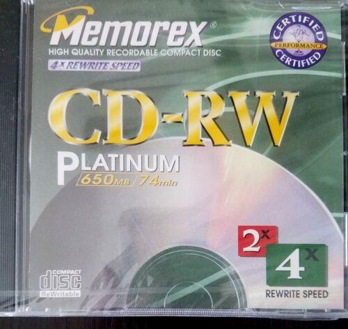 NEW Memorex CD-RW Platinum 650MB 74 min CD-RW