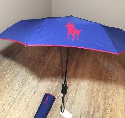 Polo Ralph Lauren Foldable Compact Umbrella Navy/Red Big Pony