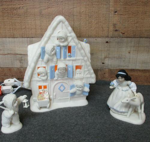 Disney & Department 56 Snow White& Seven Dwarfs Snowbabies Limited Ed w/ Light