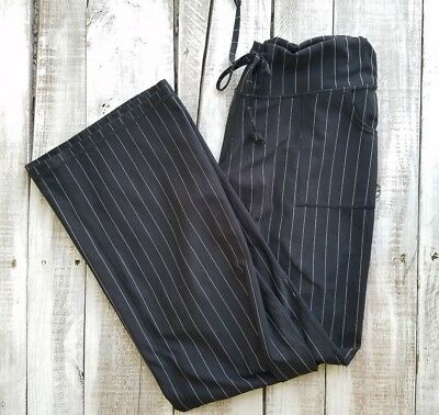 Zella Women pants size 10 black striped casual relaxed fit stretch waist pockets