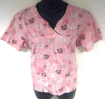 Best Medical Wear Women's Scrub Top Pink Floral Size