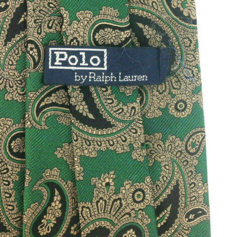 Vtg Polo Ralph Lauren Handmade Green Black Gold Paisley Silk Necktie 56x3.5, USA