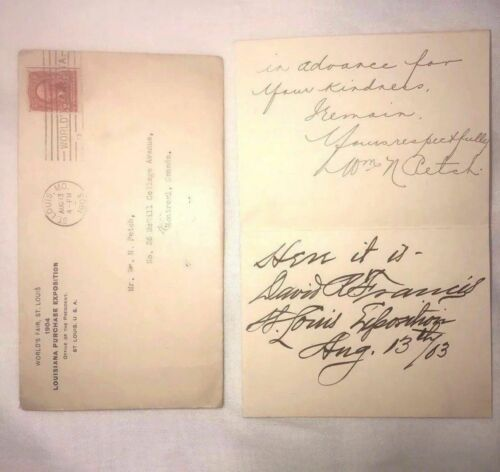 David R Francis Secretary of the Interior 1896-1897 letter dated Aug 13 1903