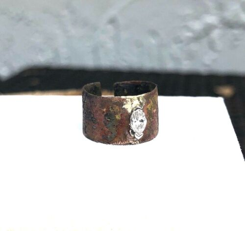 Ancient Ring Unburied in Lithuania, with white marquis diamond midi ring