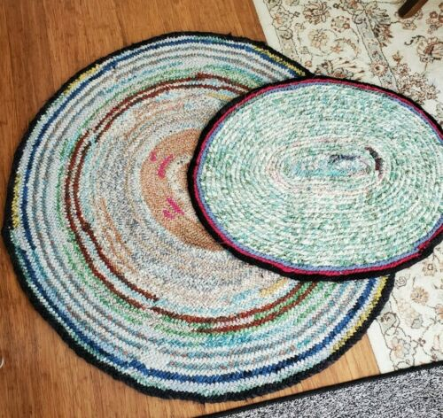 "Vintage Hand Made Crochet Rag Rug Pair 40"" x 45"" & 24"" x 30"" Ovals"