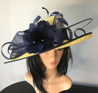 NIGEL RAYMENT YELLOW AND NAVY WEDDING ASCOT HAT  MOTHER OF THE BRIDE OCCASION](Navy And Yellow Wedding)