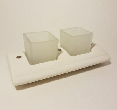 PartyLite White Pillows Candle Holder NIB Modern Square Votive, Frosted Glass