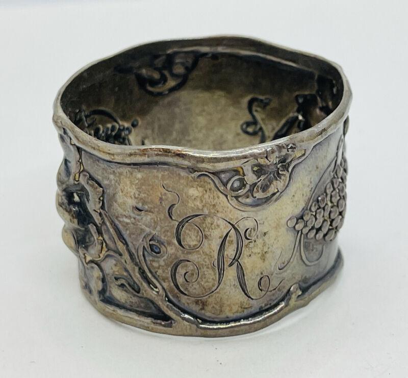 Antique Sterling Silver Art Nouveau Grape Vine Napkin Ring