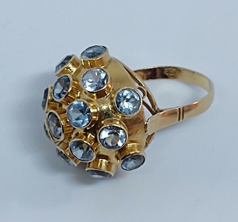 Vintage Sputnik 18k Gold Ring Aquamarine,Large, 5.13 Grams. Size 6