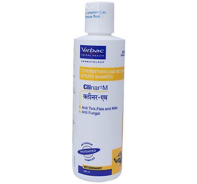 Virbac Clinar M Anti Tick Flea Mite Dog Shampoo 200 ml Anti Fungal Free Shipping