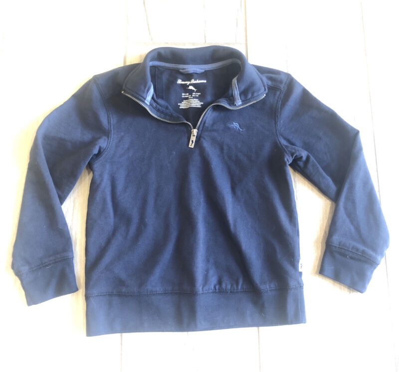 Tommy Bahama Kids Boys Navy Blue Quarter Zip Pullover Size 5 6