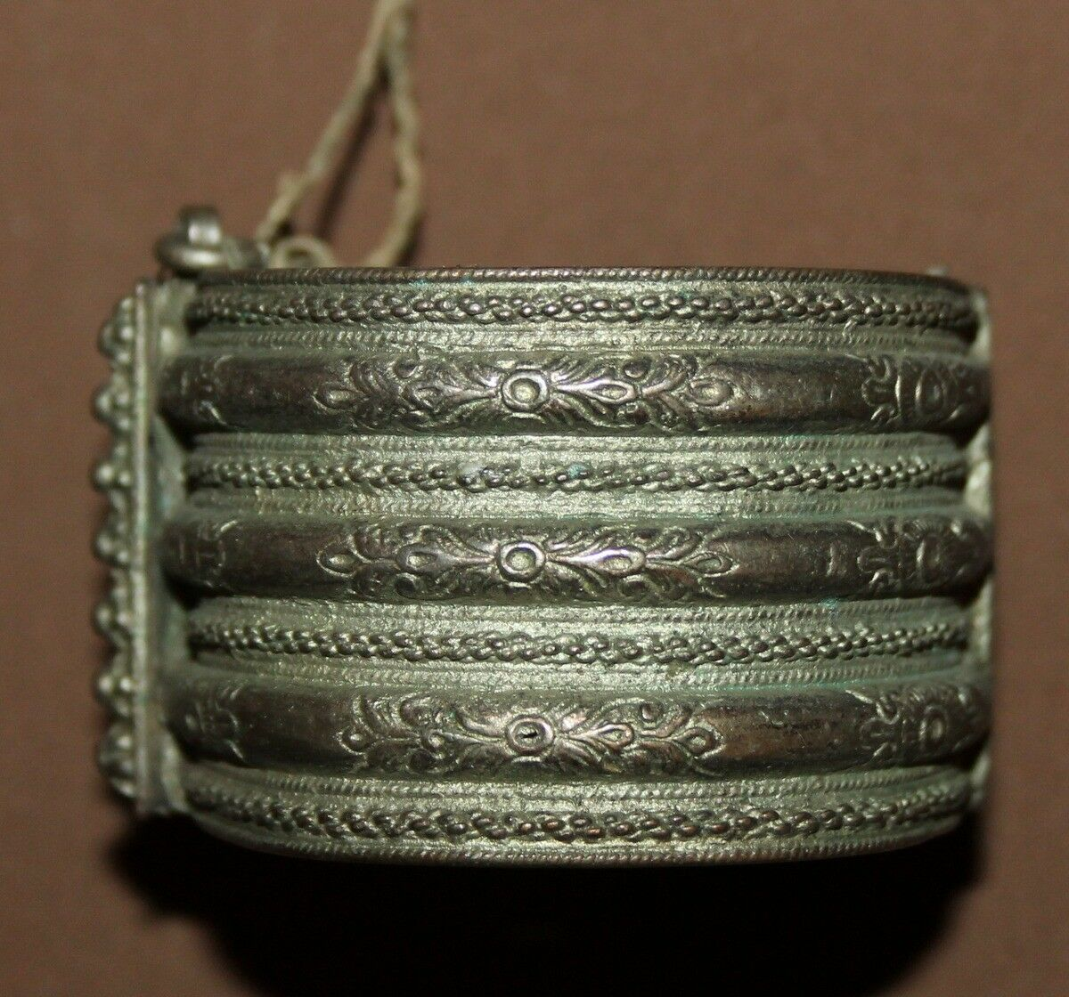 Antique Greek Folk ornate floral Silver Hinged Bracelet
