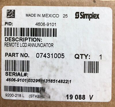 Simplex 4606-9101 Remote Lcd Fire Alarm Annunciator - New But Missing Face Plate