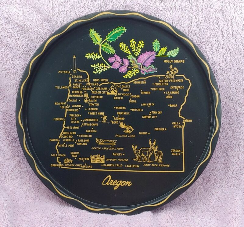 """Vintage Painted Metal Souvenir Plate / Tray 11"""" - State of Oregon"""