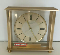 vintage bulova quartz square glass metal mantel shelf  clock old analog battery