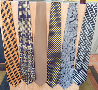 Lot of 6 men's designer ties, black and gold themed elegance in silk (Black And Gold Theme)