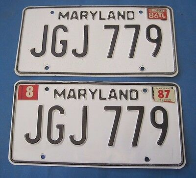 1986/87 Maryland License Plates Matched Pair