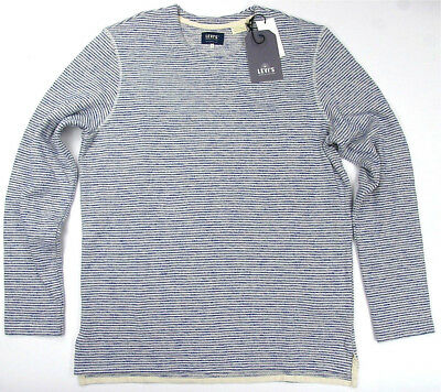 Levi's Made & Crafted Long Sleeve Safari Stripe Blue  Heavy Cotton / Poly  Levis