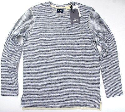 Levi's Made & Crafted Long Sleeve Safari Stripe Blue  Heavy Cotton / Poly  Levis - Blue Safari
