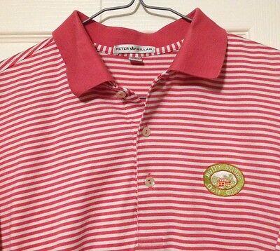 Peter Millar Polo Golf Shirt Medium Bull's Bridge Connecticut Pink Cotton