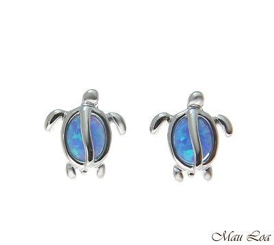925 Sterling Silver Rhodium Hawaiian Honu Turtle Blue Opal Post Stud Earrings Blue Sterling Silver Earrings