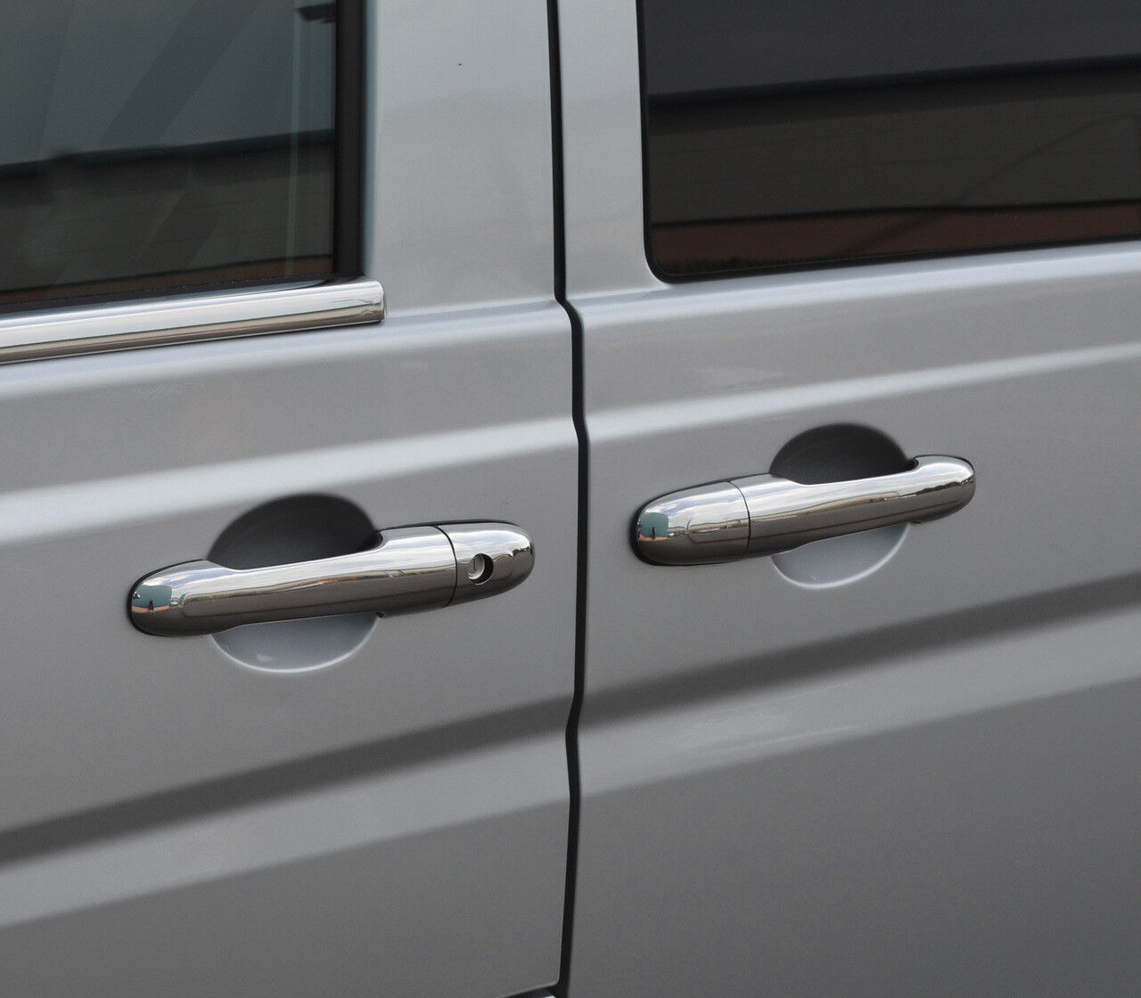 MERCEDES VITO W639 CHROME DOOR HANDLE INSERT TRIM CUPS SET COVERS 2004 ON