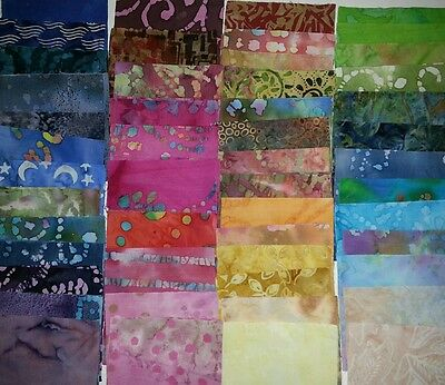 "Lot of 100pcs BATIK quilt blocks. cotton fabric charm pack, 5"" squares. GRAB BAG"