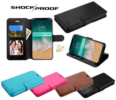 - Motorola Moto E5 PLAY / CRUISE Leather Flip Wallet Credit Card Case Phone Cover