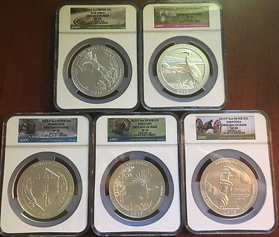 Click now to see the BUY IT NOW Price! 2015 AMERICA THE BEAUTIFUL SP 70 FULL SET OF 5   5OZ FIRST DAY OF ISSUE FDI NCS