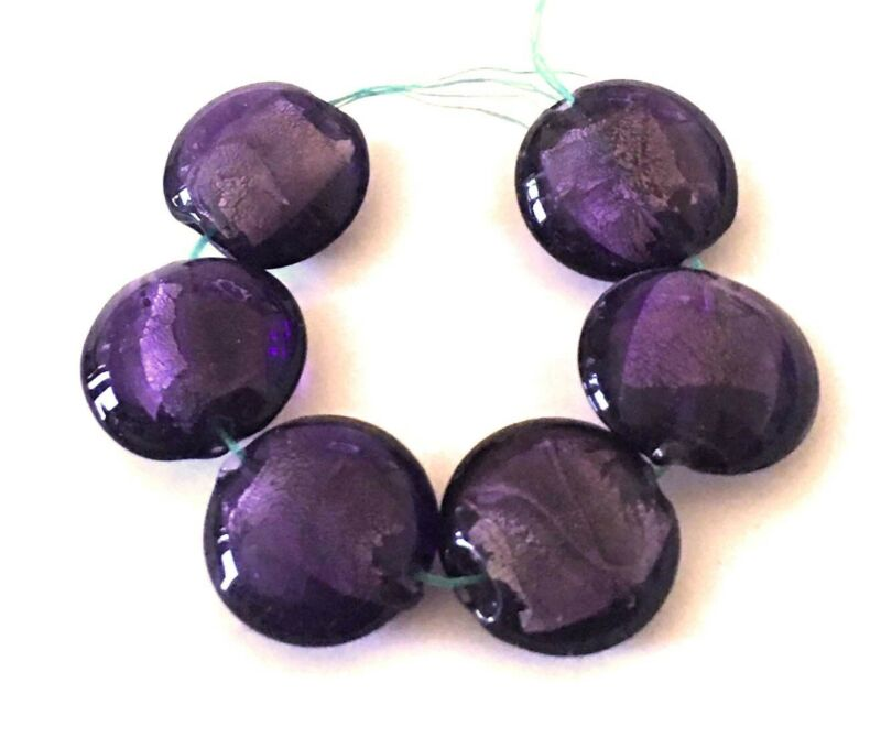 6 Lampwork Handmade Glass Silver Foil Purple Amethyst Lentil Beads 20mm
