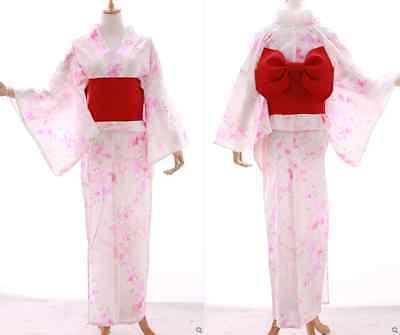 K-014 weiß rosa Schmetterling Blumen ORIGINAL Japan Kimono YUKATA OBI Gürtel ()