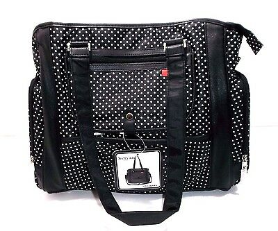 Diaper Changing Bag, Black/White Tote Handbag Waterproof Polka Dots by Skinly