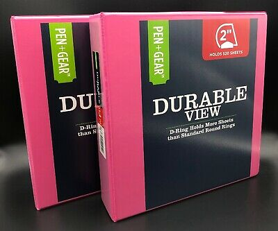 2-pack 2 D-ring 3-ring Binder Pink School Office Inch View Sheet Paper Three