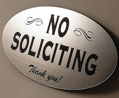 No Soliciting Home Door Plaque Sign - Laser engraved sign -Choose Color