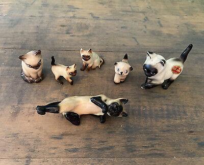 Vintage Bone China Miniature SIAMESE Cat Lot Mom Babies 6 Pc