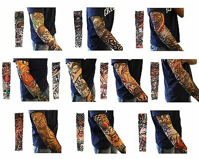 Men 10 PCS Mix Styles Fake Temporary Tattoo Sleeves Arm Stocking Cosplay Party (Tattoo Sleeves)