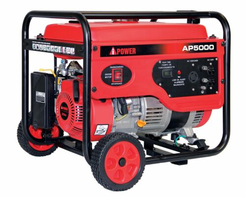 A-iPower 5000-Watt Portable Gas Powered Generator with Wheel Kit Home RV Camping