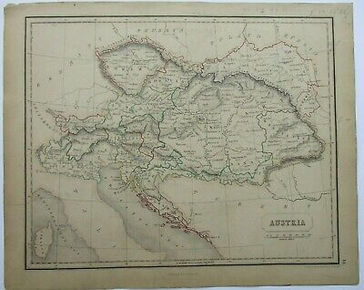 Antique Map of Austria by William & Robert Chambers 1845