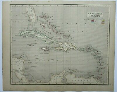 Antique Map of the West Indian Islands by William & Robert Chambers 1845