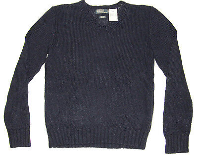 $165 Polo Ralph Lauren Mens RL Newport Navy Heavy Knit Silk Linen V Neck Sweater