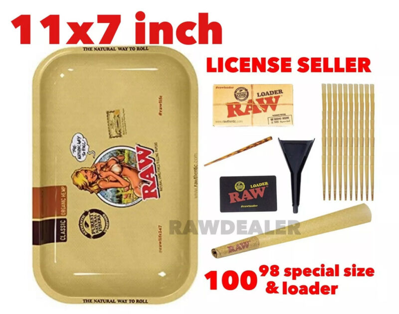 RAW Classic 98 special size Cones(100 packs)+raw cone loader+raw 11x7 girl tray