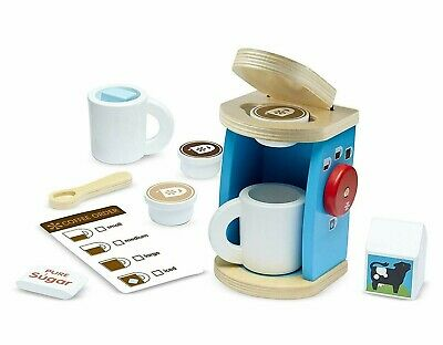 New Melissa & Doug Brew & Serve Wooden Coffee Maker 12 Pieces Set Play Kitchen Serve Kitchen Set
