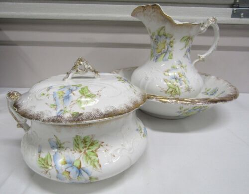 Antique Warwick China Blue Floral Wash Basin, Pitcher & Chamber Pot