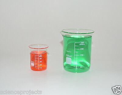 Beaker Set 250 50 Ml Griffin Graduated Borosilicate Glass Beakers New Measuring