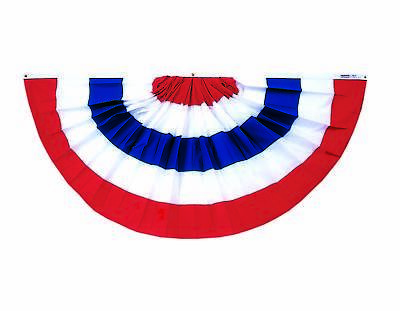 Cotton Full Pleated Fan (Patriotic Pleated Full Fan Bunting Stripes Only Poly Cotton Sheeting 4' X)