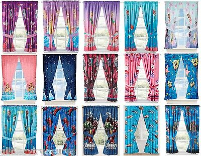 GIRLS BOYS WINDOW CURTAINS DRAPES WITH MULTIPLE DISNEY CHARACTERS TV CHARACTERS