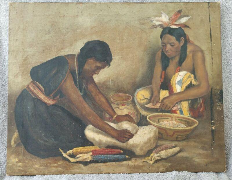 ARTHUR L. TICE (1871-1955) LISTED KS ARTIST NATIVE AMERICAN INDIANS OIL PAINTING